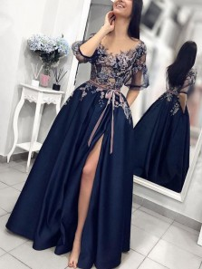 Modest A-Line Round Neck Half Sleeve Navy Blue Satin Long Prom Dresses with Appliques,Formal Party Dresses
