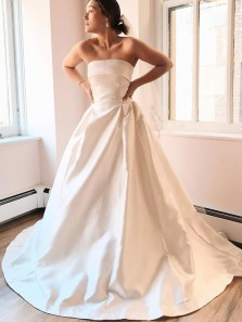 Elegant A-Line Strapless Open Back Ivory Satin Long Wedding Dresses Cheap