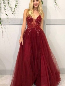 Glamorous Ball Gown V Neck Open Back Burgundy Tulle Long Prom Dresses with Beading,Formal Party Dresses