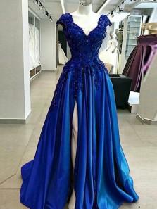 Elegant A-Line V Neck Open Back Royal Blue Satin Long Prom Dresses with Appliques,Evening Party Dresses