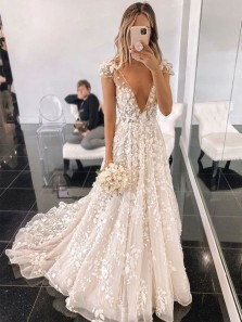 Gorgeous A-Line Deep V Neck Cap Sleeve Ivory Lace Wedding Dresses