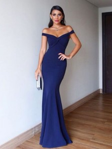Simple Mermaid Off the Shoulder Open Back Navy Blue Elastic Satin Long Prom Dresses,Evening Party Dresses