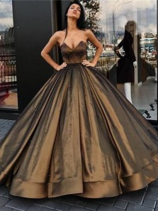 Charming Ball Gown Sweetheart Open Back Brown Satin Long Prom Dresses with Beaded,Quinceanera Dresses