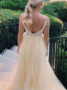 Gorgeous A-Line V Neck Yellow Tulle Long Prom Evening Dresses with Appliques,Formal Party Dresses