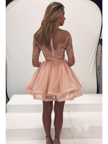 Cute Long Sleeve Lace Homecoming Dress Tulle Zipper Back Party Dress