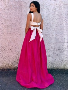 Unique A-Line Two Piece Open Back White and Rose Red Satin Long Prom Dresses,Charming Evening Party Dresses
