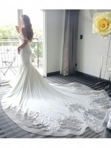 Luxurious Charming Off the shoulder Delicate Court Train Lace Wedding Dress,Sexy Mermaid White Wedding Dress