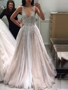 Luxurious A-Line Deep V Neck Open Back Wedding Dresses,2019 Beaded Bridal Dresses