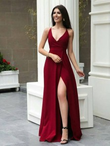 Simple A-Line V Neck Open Back Dark Red Satin Long Prom Dresses with Slit,Evening Party Dresses