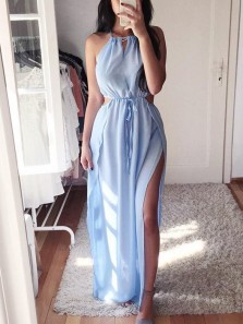 Simple Sheath Halter Open Back Blue Chiffon Long Prom Dresses with High Split,Summer Beach Dresses Under 100