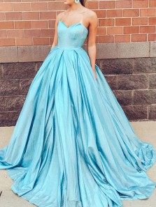 Ball Gown Sweetheart Open Back Lake Blue Sequins Long Prom Dresses with Pockets,Girls Junior Graduation Gown,Sparkly Quinceanera Dresses