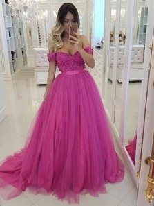 Elegant Ball Gown Off the Shoulder Open Back Fuchsia Tulle Long Prom Dresses with Beading,Formal Evening Party Dresses with Train