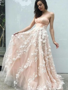 Stunning A-Line Sweetheart Open Back Pink 3D Flower Appliques Prom Dresses,Formal Evening Party Dresses