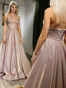 Glitter A-Line V Neck Lace-up Back Sparkly Satin Long Prom dresses with Pockets
