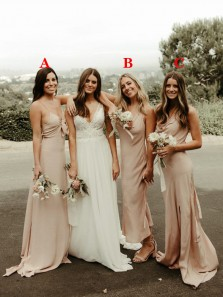 Beautiful Champagne Silk Satin Long Bridesmaid Dresses Evening Party Dresses