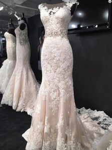 Classy Mermaid Round Neck Ivory Lace Wedding Dresses with Beading,Bridal Gown