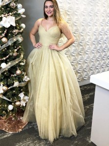 Glitter A-Line V Neck Spaghetti Straps Champagne Sparkly Tulle Long Prom Dresses