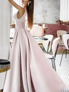 Elegant A-Line V Neck Open Back Pearl Pink Satin Long Prom Evening Dresses with Ruched