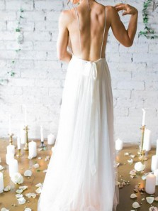 Simple A-Line Deep V Neck Backless White Chiffon Beach Wedding Dresses