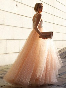 Chic A-Line V Neck Open Back Champagne Tulle Long Prom Dresses with Pearl,Charming Pageant Dresses