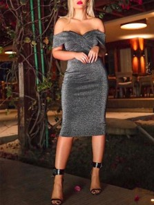 Chic Bodycon Off the Shoulder Open Back Grey Sequins Short Prom Dresses,Cocktail Party Dresses,Homecoming Dresses