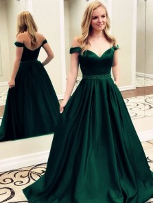 Charming A-Line Off the Shoulder Open Back Hunter Green Satin Long Prom Dresses with Beaded,Formal Prom Gown