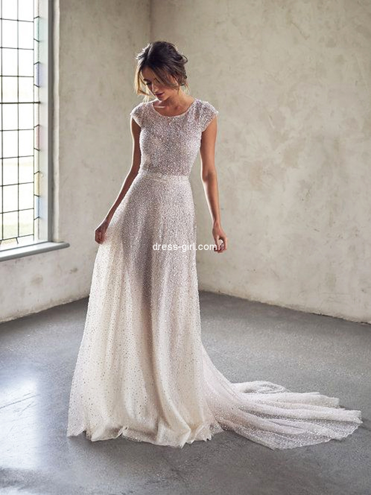 Sparkly A Line Round Neck Cap Sleeves Ivory Sequins Wedding Dresses Glitter Prom Evening Party Dresses Dress Girl Com,Mother Of The Bride Dresses For Beach Wedding Uk