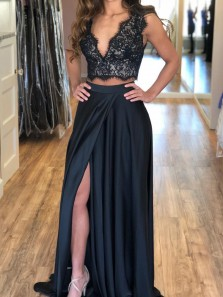 Chic Two Piece V Neck Open Back Black Satin and Lace Top Prom Dresses with Split,Evening Party Dresses