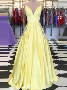 Elegant A-Line Spaghetti Straps V Neck Daffodil Satin Long Prom Dresses with Pockets
