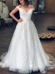 Ball Gown Off the Shoulder White Tulle Lace Wedding Dresses,Bridal Gown