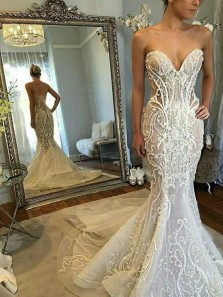 Exquisite Mermaid Sweetheart Tulle Long Wedding Dresses with Appliques