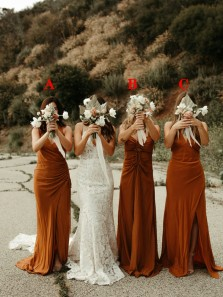 Elegant Sheath V Neck Dark Orange Long Bridesmaid Dresses with Split
