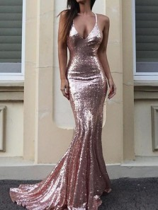 Sparkly Mermaid V Neck Backless Blush Pink Sequin Long Prom Evening Dresses,Formal Party Dresses