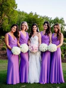 Elegant Sheath V Neck Open Back Lilac Chiffon Long Bridesmaid Dresses