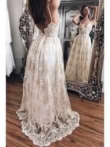 Modest A Line V Neck Lace Evening Dress,Luxurious Lace Long Prom Dress