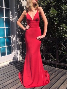 Simple Mermaid V Neck Spaghetti Straps Cross Back Red Elastic Satin Long Prom Dresses Under 100,Cheap Evening Party Dresses
