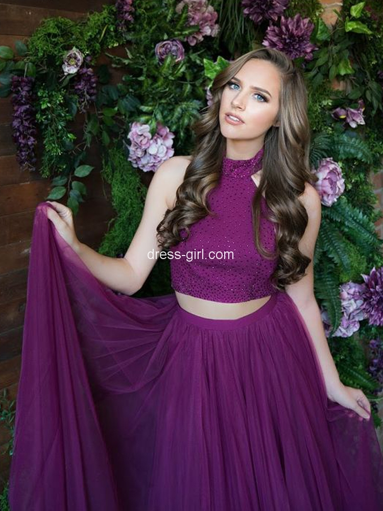 98d7cab4fc Elegant A-Line Two Piece Halter Open Back Purple Tulle Long Prom Dresses  with Beading