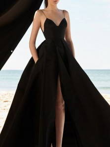 Simple A-Line V Neck Spaghetti Straps Open Back Black Satin Long Prom Dresses with Slit,Formal Party Gown