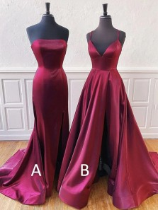 Simple Mermaid Strapless Open Back Burgundy Satin Long Prom Dresses,Formal Party Dresses