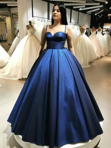Ball Gown Sweetheart Spaghetti Straps Royal Blue Sparkly Satin Long Prom Dresses with Pockets
