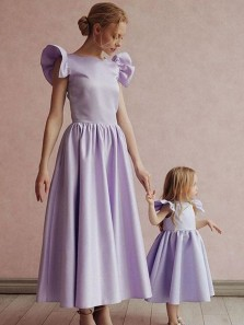 Pretty A-Line Round Neck Lilac Satin Long Flower Girl Dresses