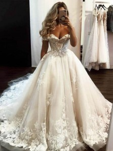 Princess Ball Gown Off the Shoulder Tulle Lace Wedding Dresses