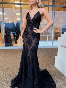 Alluring Mermaid V Neck Cross Back Black Lace Long Prom Evening Dresses,Formal Party Dresses