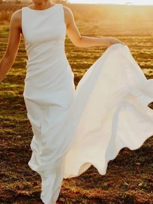 Elegant Sheath Round Neck Open Back White Soft Satin Long Wedding Dresses