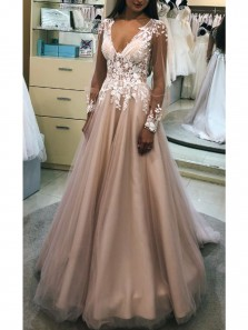 Charming A-Line V Neck Long Sleeve Blush Satin Long Prom Dresses with White Lace,Quinceanera Dresses