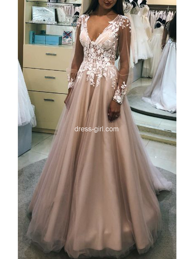 34844dbd484 Charming A-Line V Neck Long Sleeve Blush Satin Long Prom Dresses with White  Lace