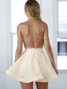 A-Line Halter Open Back Short Prom Dress,Pearl Pink Chiffon Homecoming Dress with Sequins HC0062