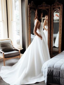 Elegant Jewel Neck White Satin Long Wedding Dresses with Train Pockets,Simple Bridal Gown