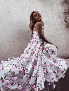 Princess A-Line V Neck Open Back Handmade Flowers Lace Prom Dresses,Pageant Dresses  Girls Junior Graduation Gown