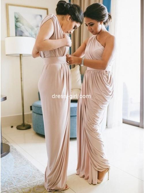 Sheath One-Shoulder Floor-Length Blush Ruched Bridesmaid Dress